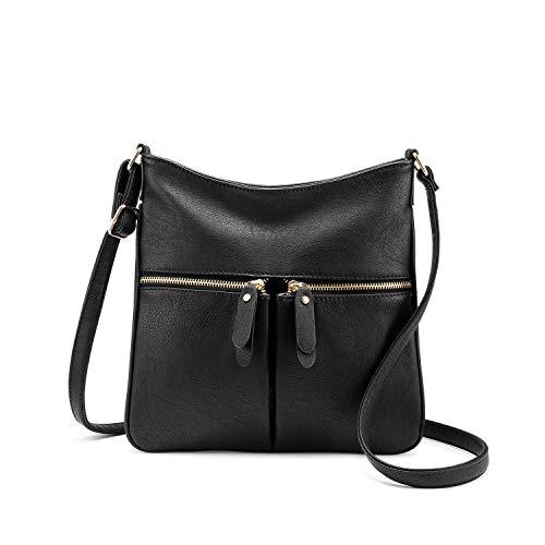 Realer Umhängetasche Damen Schultertasche Crossover Tasche Handtasche Klein Kunstleder für Frauen Schwarz