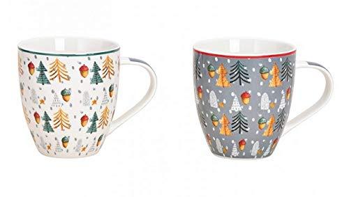 MC Trend 2er Set XXL Jumbo Becher Weihnachtsmotiv Tannenbaum Dekor Kaffee-Tee-Glühwein-Tasse Pott Geschenk-Idee