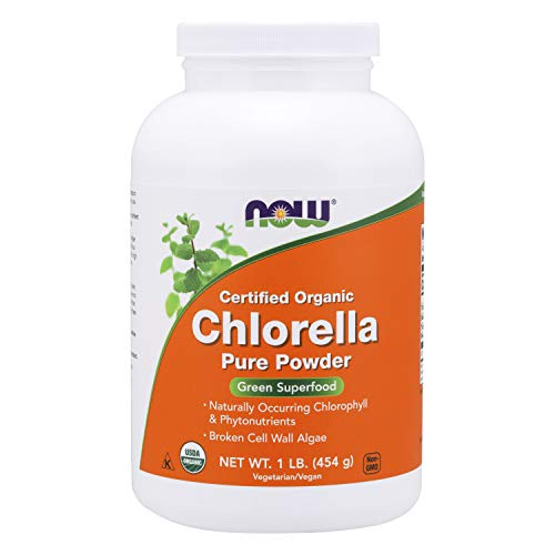 NOW Supplements, Organic Chlorella Powder with naturally occurring Chlorophyll, Beta-Carotene, mixed Carotenoids, Vitamin C, Iron and Protein, 1-Pound