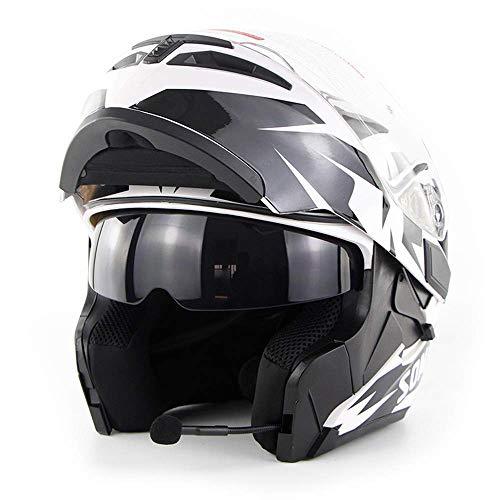 NF Bluetooth Integrado Modular Flip Up Cara Completa Motocicleta Casco Jet Doble Espejo Mp3 Intercom Certificación D. O. T,White,L