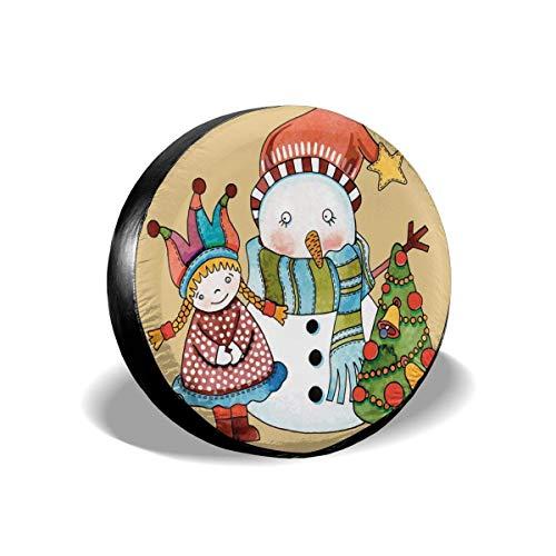 Drew Tours Reifenabdeckung Reifenabdeckung Radkappen, niedliches kleines Spielzeugmädchen Schneemann und Weihnachtsbaum in Aquarellen Frohes Neues Jahr-Thema, für SUV Truck 15inch
