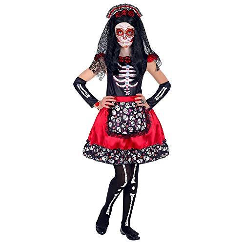 Widmann-Mujer Dia De Los Muertos Costumi per Bambini, Multicolore, (158 cm / 11-13 Anni), 06918