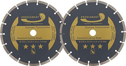 PRODIAMANT juego de 2 discos de corte de diamante 230 x 22,2 mm - hormigón, piedra, ladrillo, universal 230mm, hoja de sierra para corte seco y húmedo