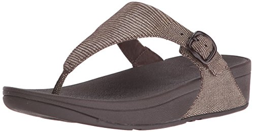 FitFlop The Skinny Lizard Print Toe-Post Sandals - Chocolate Brown, Marron, 38.5
