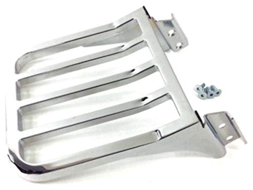 Five Bar Sport Luggage Rack Rear Carrier Chrome For Harley Davidson Softail Heritage Classic Fat Boy Dyna Street Bob Low Rider Sportster XL 1200 883 Iron Low Sissy Bar Upright Backrest HD Ref 53862-00