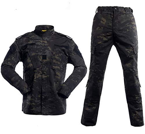 Noir Costume Militaire de Camouflage Uniforme Tactique de Chasse Militaire Camouflage extérieur Veste Vêtements Équipement 08 S