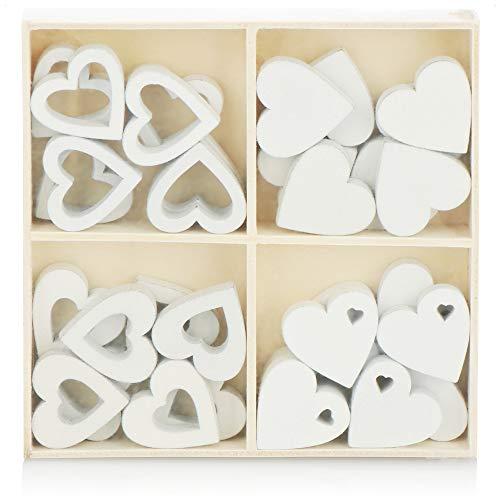 com-four® 32x Herz Streudeko - Kleine Herzen aus Holz in Vier Designs - Holz-Herzen für Tischdeko im Frühling, an Ostern, auf Hochzeiten (32 Stück Herz)