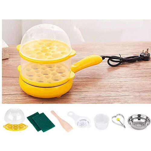 Multi Eierkocher, 7 Eier Elektro Mini Bratpfanne Dampfgarer Anti Zunge Automatische Temperierung, Gelb AQUILA1125 (Color : Yellow)