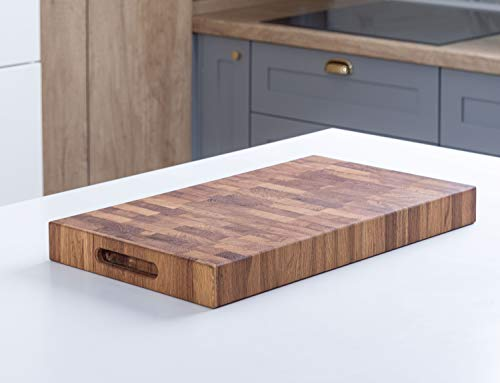 Daddy Chef End Grain Wood cutting board with Juice Groove - Large Reversible Chopping block countertop - Wood butcher block - Kitchen Wooden chopping board (DT2X 20x12x2)
