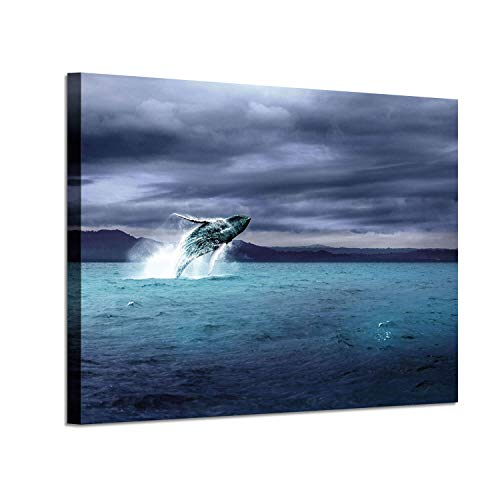 """Ocean Picture Canvas Wall Art: Blue Sea Whale Artwork Cloudy Sky Painting Print for Bedroom (36 """" x 24 """" x 1 Panel)"""