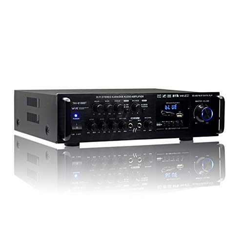 yiteng Bluetoothオーディオサウンドアンプ 高音質 Hi-Fiステレオパワーアンプ 実効最大出力 USB/SDカード再生可 ハイパワー 車載 パーティー用 家庭用カーアンプ (TAV-6188BT)