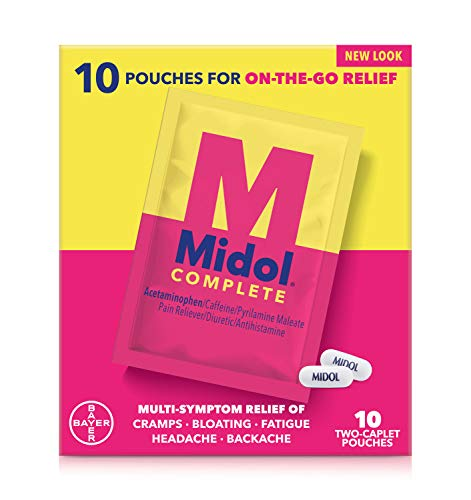 Midol Complete On The Go Menstrual Pain Relief Caplets with Acetaminophen for Menstrual Symptom Relief - 10 Count Pouches (2-Pack)