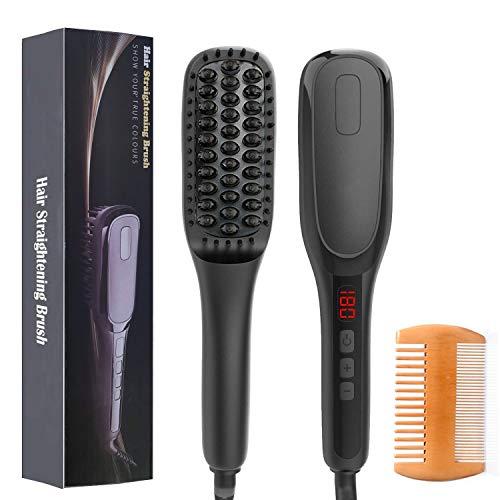 Xnuoyo Beard Straightener Brush, Beard/Hair Straightening Brush with Anti-Scald Feature, Heated Beard Brush, Portable Ceramic Heated Hair Brush with LED Display for Travel Mens Women