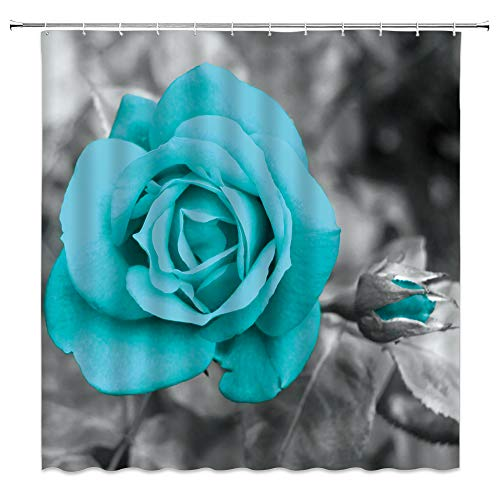 XZMAN Rose Shower Curtain Teal Blue 3D Flower Modern Simple Art Polyester Fabric Home Bathroom Decor Set 70 x 70 Inches Include Hooks