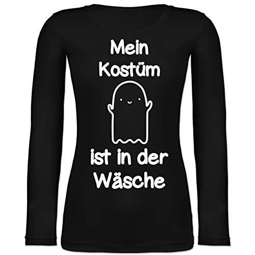 Shirtracer Halloween - Mein Kostüm ist in der Wäsche Gespenst - XL - Schwarz - Langarm - BCTW071 - Langarmshirt Damen