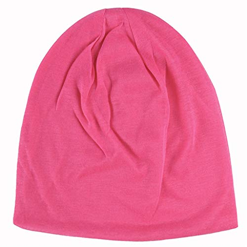 Fineday Men Soild India Stretch Drawstring Hat Wool Knitting Hair Loss Head Scarf Wrap, Hat, Clothing Shoes & Accessories (Hot Pink)