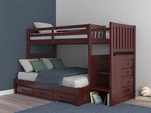 Mission Twin Over Full Staircase Bunk Bed with 3 Drawers