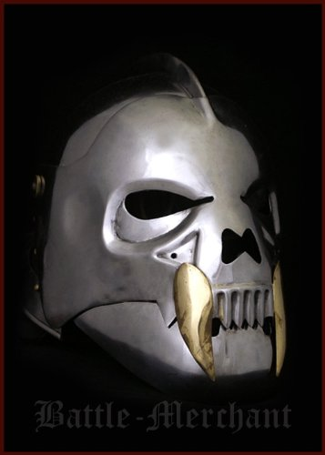 Battle-Merchant Orkmasken Helm aus Stahl - Mittelalter - LARP - Ork