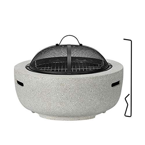 Fire Pit with BBQ Grill Shelf, Outdoor Firepit for Garden and Patio with Toolbox Wood and Charcoal Burner for Field Camping or as Campfire