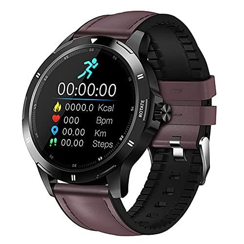 ZGZYL Reloj Inteligente De Los Hombres con Monitor De Ritmo Cardíaco/Presión Arterial / Spo2 Monitor/Fitness Tracker Pedómetro Bluetooth Smart Watch para iOS Android,B