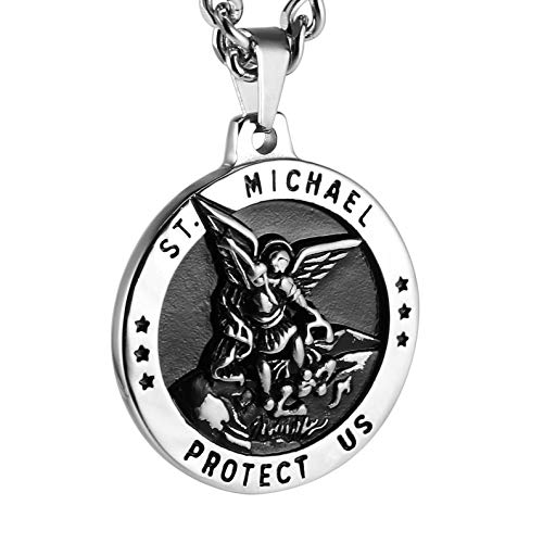 HZMAN St Michael The Archangel Catholic Medal Stainless Steel Amulet Pendant Necklace