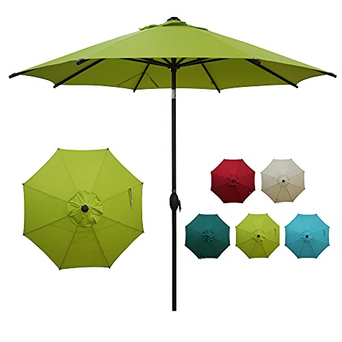 Abba Patio 9ft Patio Umbrella Market Outdoor Table Umbrella with Auto Tilt and Crank for Garden, Lawn, Deck, Backyard & Pool, 8 Sturdy Steel Ribs, Lime Green