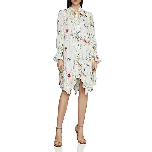 BCBG Max Azria Womens Asymmetrical Floral Print Midi Dress White XXS
