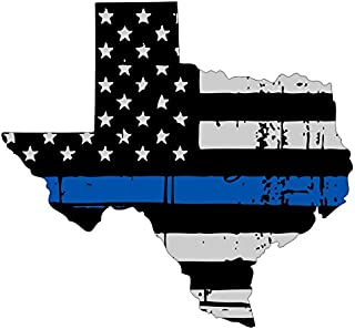 Texas tattered thin blue line us flag honoring our men & women of law enforcement car symbol sticker decal die cut vinyl window computer - Made and Shipped in USA
