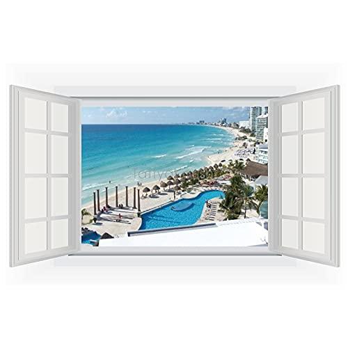 Vinilo decorativo para pared con vista a la ventana de México Cancún para el hogar, dormitorio infantil, 40 x 55 cm