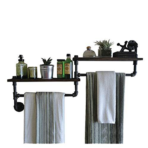 Organice gabinetes de almacenamiento, bastidores de estantes de madera maciza de hierro forjado, montajes de pared montados en la pared, bastidores de toallas de baño. Leyue