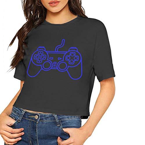 Womens Girls Crop Tops, Playstation Controller Women Summer Short-Sleeved Blouse Black