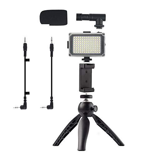 Petyoung Smartphone Video Rig Kit de Filmación Kit Micrófono Video Luz Trípode Teléfono Clip Video Filmación Accesorios
