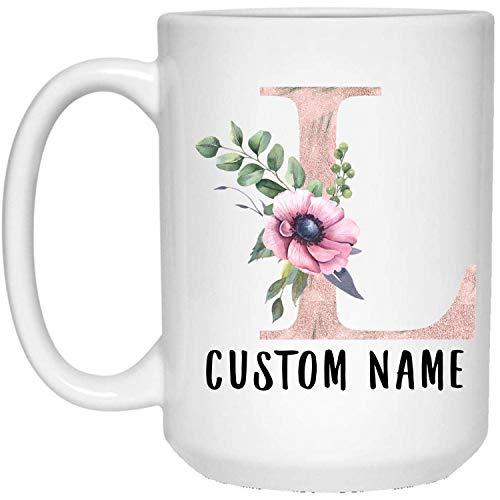 Letras de monograma personalizadas L con nombre personalizado taza de café blanca 15 oz