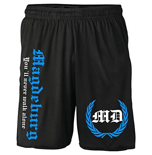 Magdeburg Kranz Shorts | Fussball Sport Sommer Ultras Kurze Hose Sporthose (XXL, Schwarz Kranz M2)