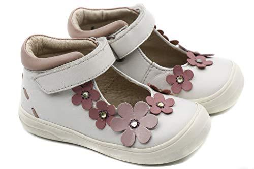 Stups Sommer Halbschuh Sandale Mädchen Girl Leder weiß rosa Sandalette Blumen Gr. EU 20 Girl Neu OVP