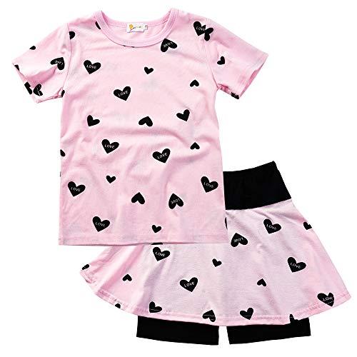 EULLA Mädchen Kleidung Set Baumwolle T-Shirt Top + Rock Hose Outfits mit Herzformig 92 98 104 110 116 122