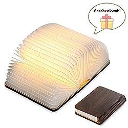 Yuanj Hölzerne faltende Buch-Lampe - magnetisches LED-Licht -dekorative Lichter, Schreibtisch-Lampe mit Akku 880 mAh - warmes licht-hell genug für das Ablesen - Ideal für Geschenk