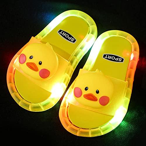 Perferct Hawaianas Mujer Chanclas,Zapatillas Luminosas LED, Zapatillas Antideslizantes de Soft-SOBLED PVC, Sandalias de baño para niños, Chicas y Chanclas, niños pequeños-Amarillo b_EU 22
