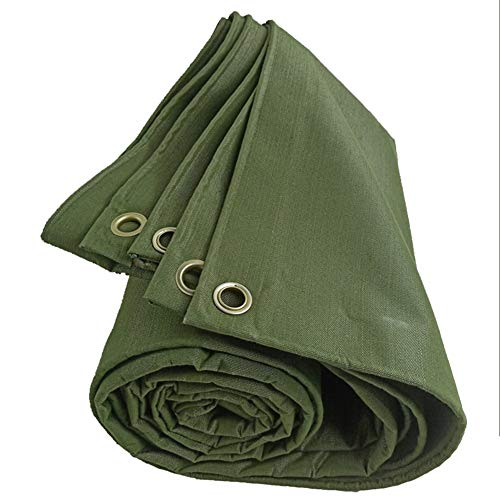JLXJ Tarp Thick Canvas Tarpaulin, Large Tarps Waterproof Heavy Duty Truck Shed Cloth, Sunscreen Wear-resistant Anti-aging, 620g/m², Green (Size : 2m×1.5m(6ft×5ft))