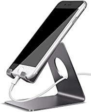 Lamicall Cell Phone Stand, Phone Dock : Cradle, Holder, Stand, Compatible with Phone 12 Mini 11 Pro Xs Xs Max Xr X 8 7 6 6s Plus 5 5s 5c All Android Smartphone Charging, Accessories Desk - Gray