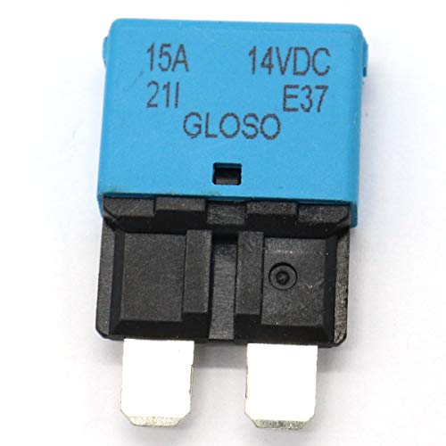 JenNiFer Dc 28V 5-30A Reettable Circuit Breaker Fuse Reset Blade for Marine Automotive - 15A