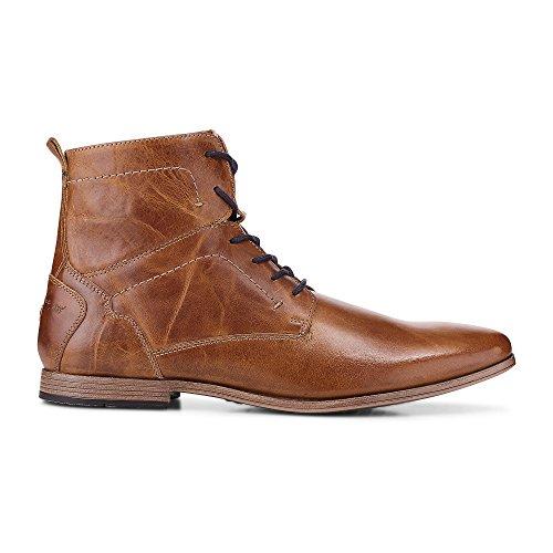 Cox Herren Schnür-Boots aus Leder, brauner Freizeit Stiefel mit robuster Laufsohle Braun Leder 41
