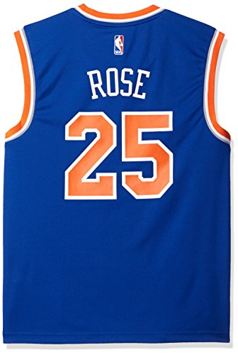 NBA Men's New York Knicks Derrick Rose Replica Player Stretch Jersey, Large, Blue