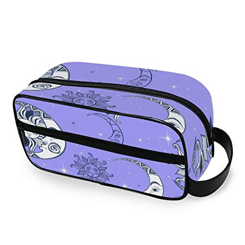 Abstract Sun and Moon Toiletry Bag Portable Borsa per cosmeticis Travel Makeup Bag Pouch Wash Gargle Bag Outdoor Toiletries Bag Organizer Cosmetic Travel Bag for Women Girls Men