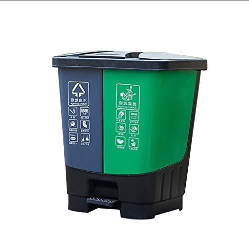 NYKK Cubo de Basura Clasificado al Aire Libre Comercial del Hotel del Bote de Basura de la Capacidad Grande con el Bote de Basura plástico Doble del Barril de la Cubierta Cubo de Basura Escalonado