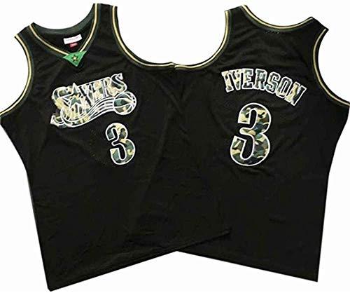 Lajx Maillot de baloncesto para hombre al aire libre Iverson Sports de secado rápido de la competencia #3 negro Jersey
