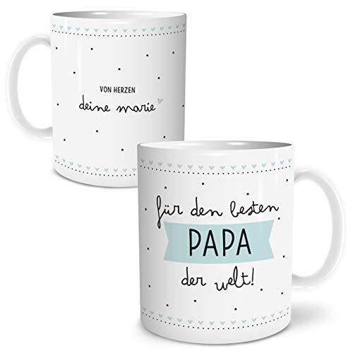 OWLBOOK Bester Papa große Kaffee-Tasse mit Namen personalisiert im Geschenkkarton geliefert Geschenkidee Geschenke Vatertag Vatertagsgeschenk Vater