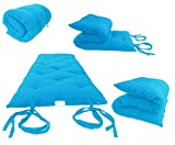 Queen Size Turquoise Traditional Japanese Floor Futon Mattresses, Foldable Cushion Mats, Yoga, Meditaion 60' Wide X 80' Long
