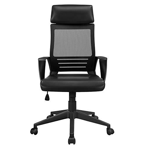 Yaheetech Bürostuhl Kunstleder, Schreibtischstuhl mit Kopfstütze, Armlehne und Netzrückenlehne, ergonomischer Chefsessel, 360° Drehstuhl, Office Chair höhenverstellbar mobil