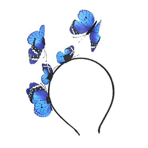 SM SunniMix Elegante Dame Böhmischen Schmetterling Haarband Stirnband Party Prom Haar Dekor Geschenk - Blau